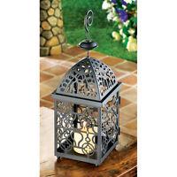 Set Of 10 Black Iron Moroccan Birdcage Style Candle Lanterns