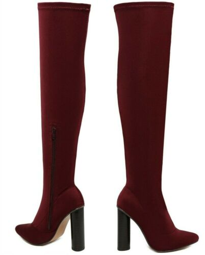 New Womens Burgundy Stretchy Thigh High Over The Knee Lycra Block Heel Boots