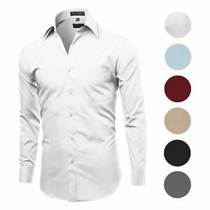 Herren Classic fit Langarm Falten Resistent Knopf Down Premium Dress Shirt