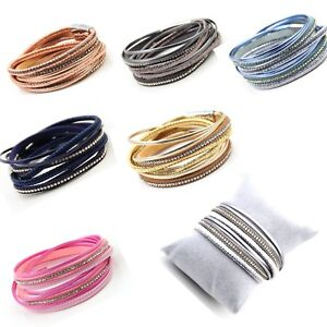 Details About Multi Strand Wrap Bracelet With Diamante Shiny Wred Thread Magnetic Clasps