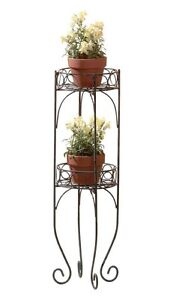 HOME-GARDEN-DECOR-TWO-TIER-METAL-PLANT-STAND