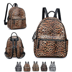 Girls-Ladies-Leopard-Backpack-Faux-Leather-Animal-Rucksack-Zebra-Handbag-MA3578