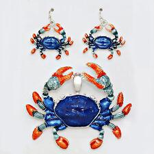 Crab Pendant Earrings SET Metal Beaded Enamel BLUE ORANGE SILVER Beach Jewelry