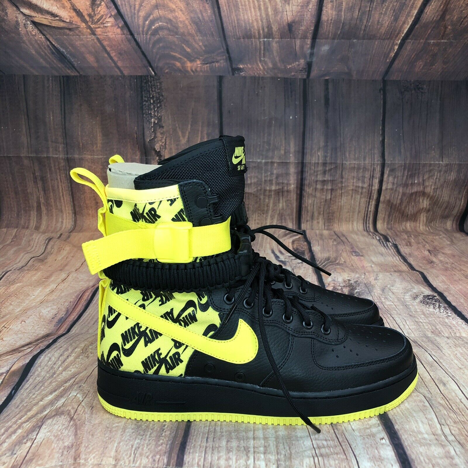Nike SF Air Force 1 Special Field High Top Men Size 10 Black Yellow AR1955 - NEW