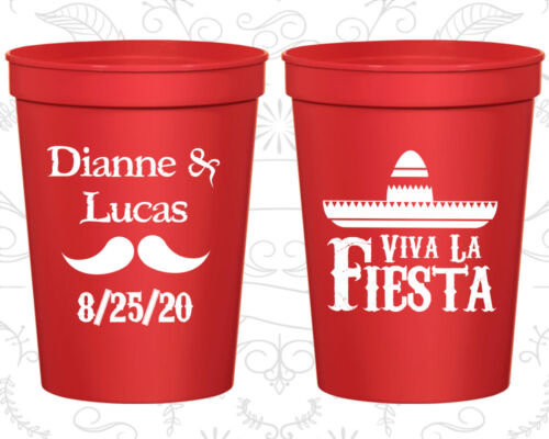 Details about  /Personalized Plastic Beer Cups Cup 299 Mexican Wedding Favors Viva La Fiesta