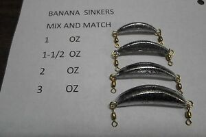 BANANA SINKERS PACK OF 20,40,60,80 OR 100 (4 SIZES) TROLLING SPIN CRESCENT