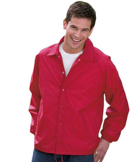 Auburn® Kasha Lined Nylon Coach Jacket, Adult Solid Red,Blue,Black,Green L-4XL