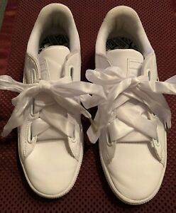 white puma ribbon laces