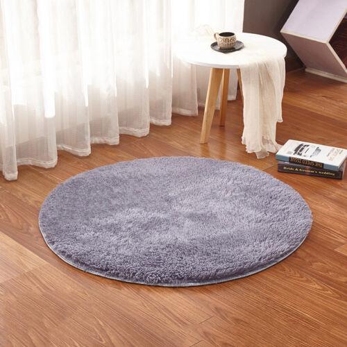 Washable Plush Area Rug Circle Mat Round Small Rug Non Slip Home Decor Solid