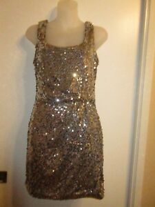 Love Reign M Mini Dress Allover Sparkling Sequins Silver Taupe Cocktail Party