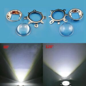 20-100W-LED-44mm-Lens-50mm-Reflector-Collimator-Fixed-Bracket-Kit-Silver-UK