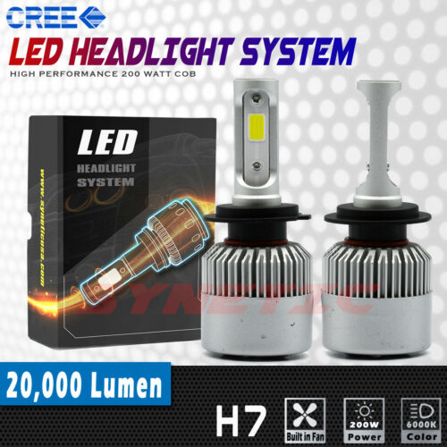 2x H7 LED Headlight COB High Beam Kit 200W 20000LM Bright White 6K Light Bulbs