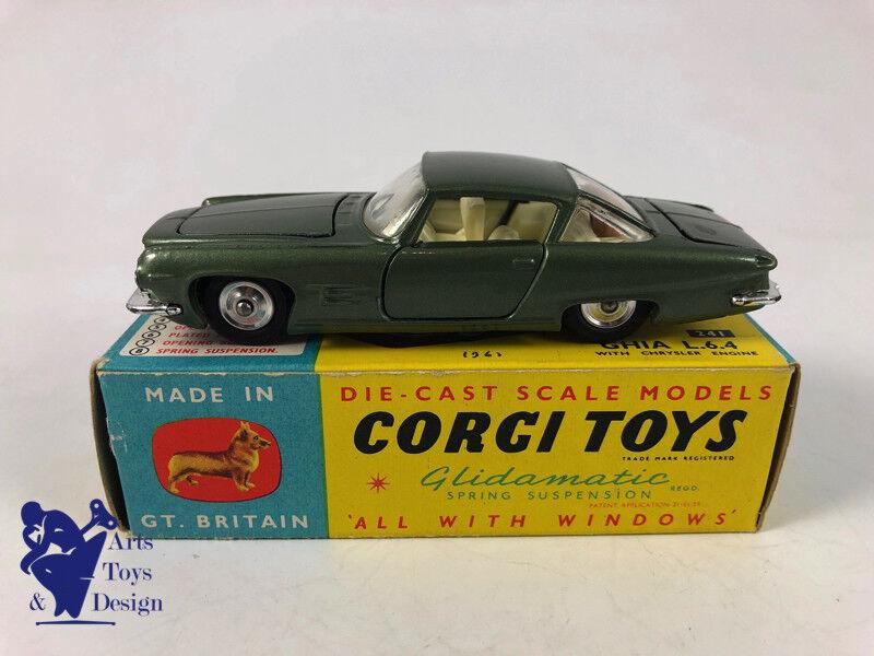 JOUET ANCIEN CORGI giocattoli 241 CHRYSLER GHIA verde METAL modelloE D'EPOQUE VERS 1960