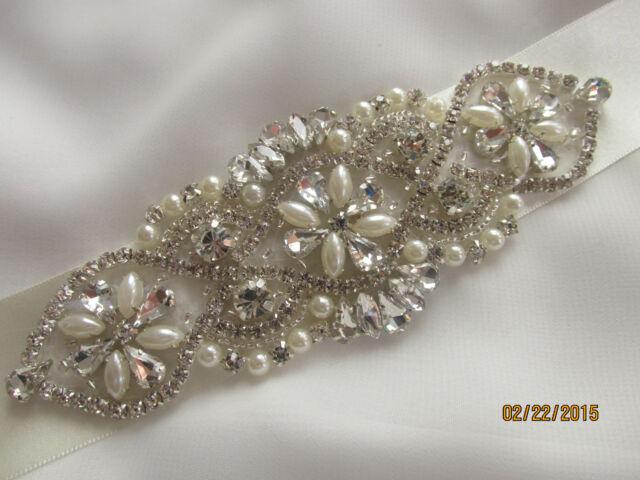 SALE Crystal Ivory Pearl  Bridal Belt, Sash Belt, Crystal Rhinestone And Pearl
