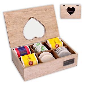 Teebox-Teekiste-Teekistchen-Teekaestchen-Teebeutelbox-Teebeutelkiste-Bambus-Holz
