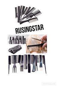 10-Piezas-Conjunto-de-Peine-de-Cabello-Estilo-Profesional-Cepillo-Barberos-Peluqueria-Negro