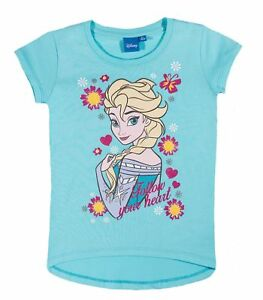 Maedchen-Kinder-Offiziell-Disney-Frozen-Elsa-hellblau-kurzaermlig-T-Shirt-Top