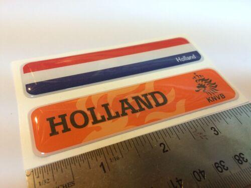 "Holland KNVB Flag Domed Decal Emblem  Car Flexible Sticker 4/""x1/"" Set of 2"