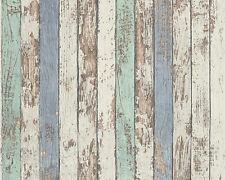 Vlies Tapete DEKORA NATUR 6 AS 95914-1 Holz Planken verwittert Creme Mint Blau