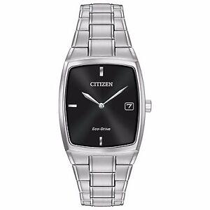 Citizen-Eco-Drive-Men-039-s-AU1070-58E-Black-Dial-Silver-Tone-Bracelet-44mm-Watch