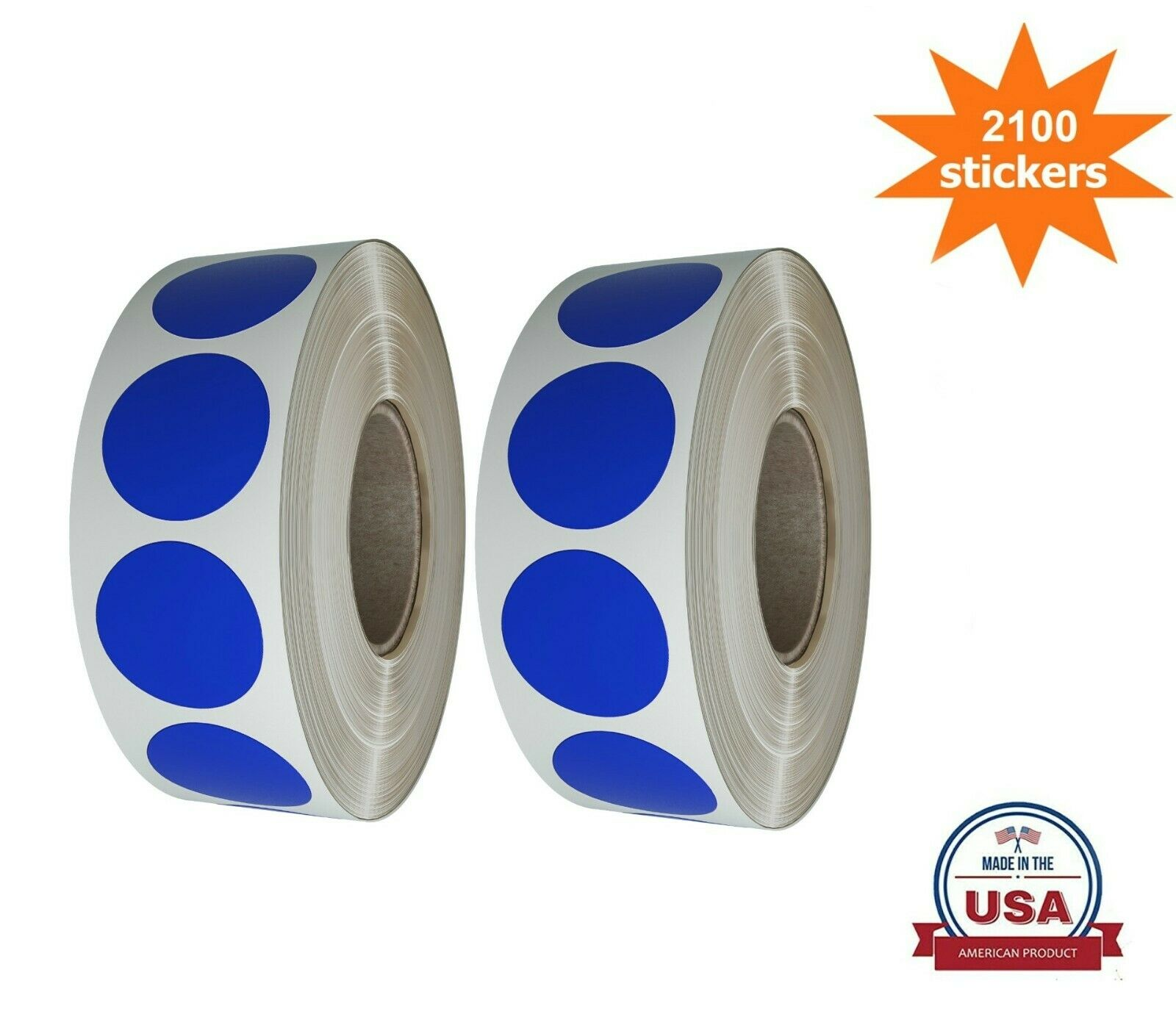 19MM Blue Color Coding Round Stickers 3//4 Inch 2100 Pack on 2 Rolls