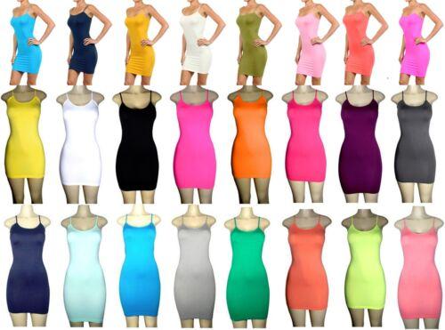 NEW Lot Women Camisole Stretch Club 2 Tone Long Tank Mini Dress OS Queen S M L