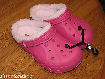 Crocs baya lined Clog kids child roomey fit sandal shoe J1/3 fuchsia pink*^