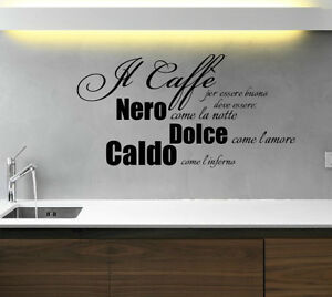 IL CAFE WALL STICKERS STICKER ADESIVI MURALI ADESIVO DECAL ART FRASI ...
