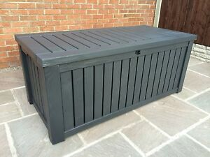 image is loading keter rockwood anthracite plastic garden storage deck box - Garden Storeage Boxes