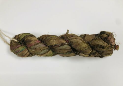 Recycled Sari Silk Ribbon Olive Green