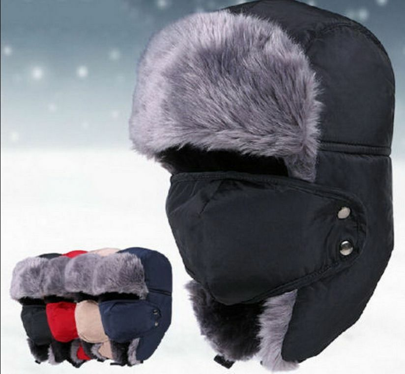 d79b0c130 AU Mens Winter Fur Ushanka Trapper Hat Aviator Earflap Ski Cap ...