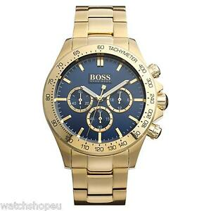 new hugo boss 1513340 mens gold chronograph watch 2 year image is loading new hugo boss 1513340 mens gold chronograph watch