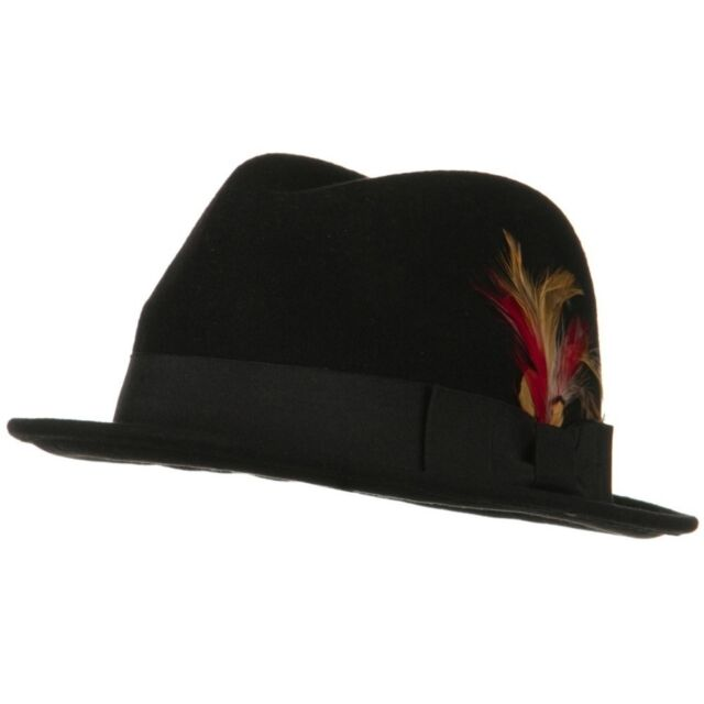 3b1b2f66566 Men s Wool Felt Black Gangster Mobster Godfather Fedora Hat Black S ...