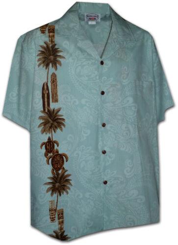 Pacific Legend Turtles Palm Trees Tiki Blue Hawaiian Button Down Shirt 444-3757