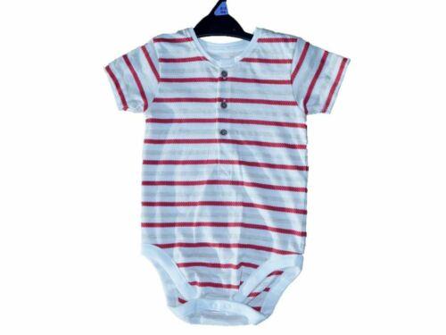 Nutmeg Baby Boys Bodysuit Striped Romper Stripe Vest Short Sleeve 0-18 Mths NEW