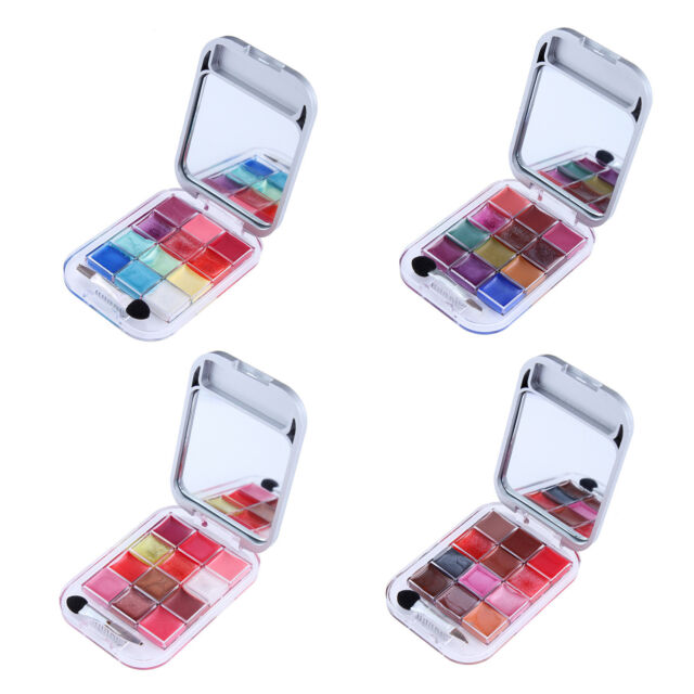 12 Color Cosmetic Make Up Palette With Lip Gloss Eyeshadow Brush Mirror SYH