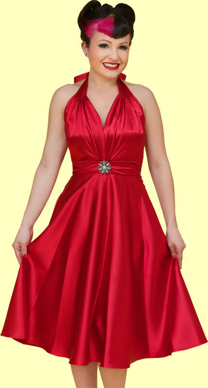 Stop Staring  Vintage Inspired Red Satin Taylor Swing Dress - Pinup, 50's, New