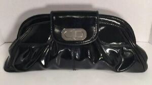 Designer-Franco-Sarto-Black-Shiny-Patent-Leather-Clutch-Handbag-Logo-Pink-Lining
