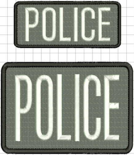 Police embroidery patches 2x5 and 4x6 hook on back white letters grey bg