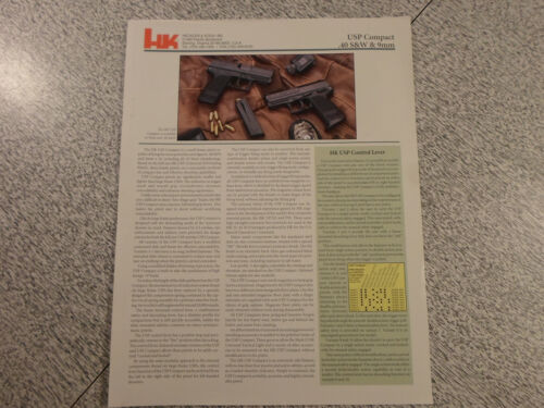 1996 HECKLER /& KOCH HK H/&K USP Advertisement// Brochure