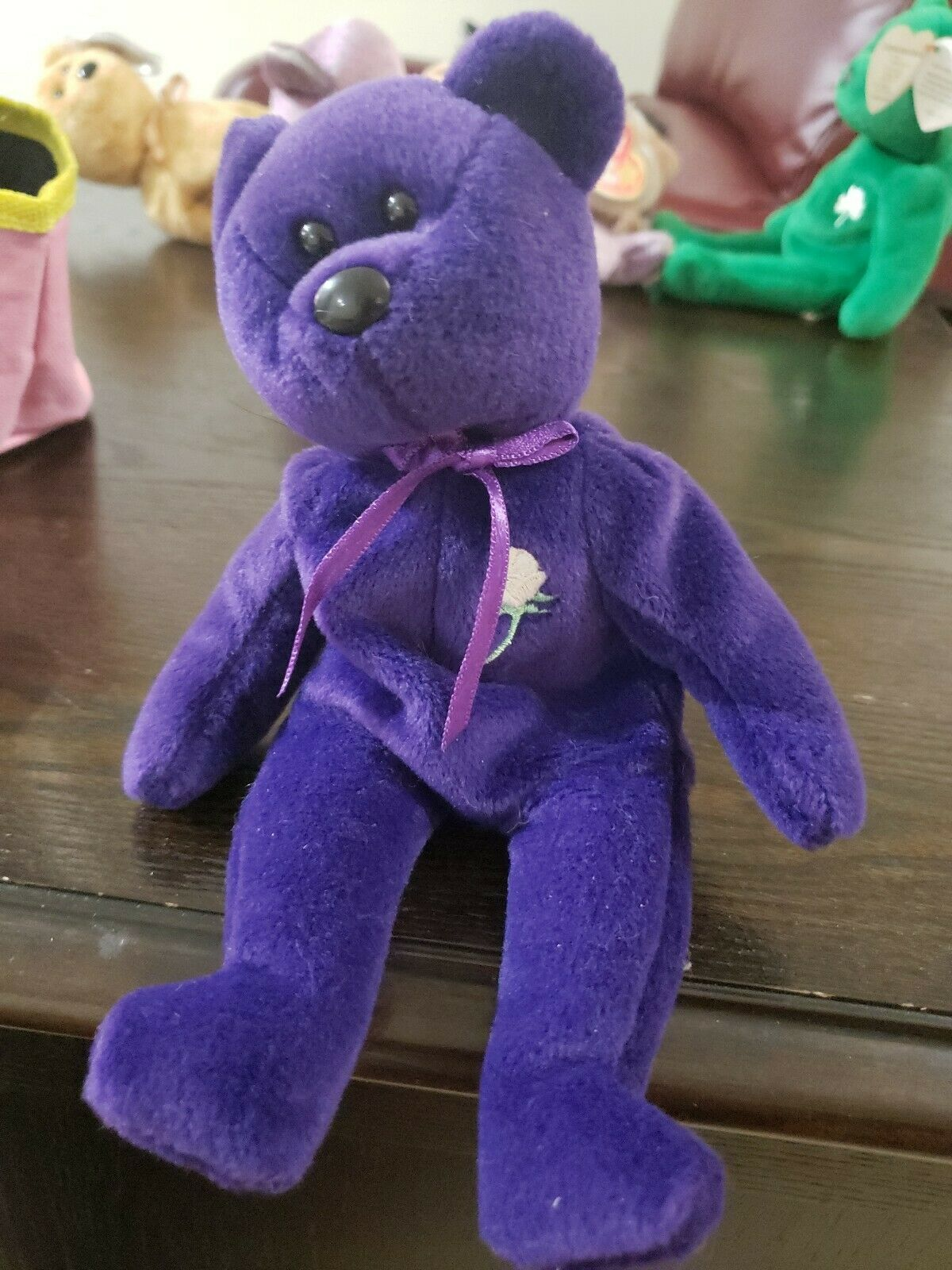 Ty Beanie Babies Princess Diana Purple Bear, 1997, PE pellet, Mint w  Tag Errors