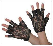 80's Black Lace Fingerless Gloves Madonna 1980's