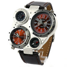 NEW Men's Big Brown Strap Compass Thermometer Camping Exercise Large Wrist Watch