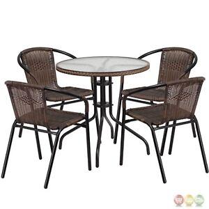 Strange Details About Patio Dining Furniture Set 28 Round Glass Metal Table 4 Brown Rattan Chairs Spiritservingveterans Wood Chair Design Ideas Spiritservingveteransorg