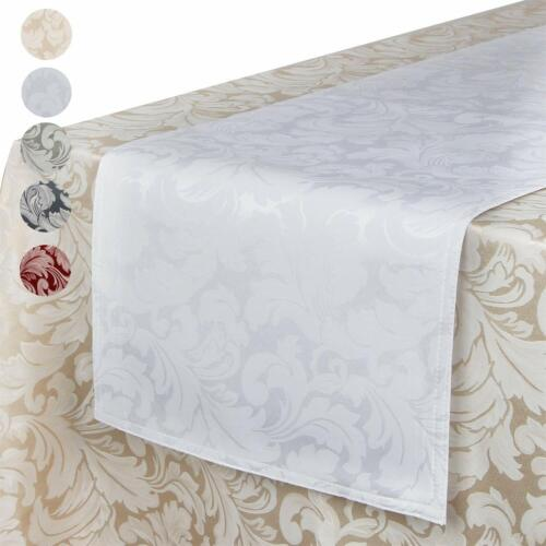 EHouseHome Jacquard Damask Reversible Table Runner Wrinkle and Water Resistant S