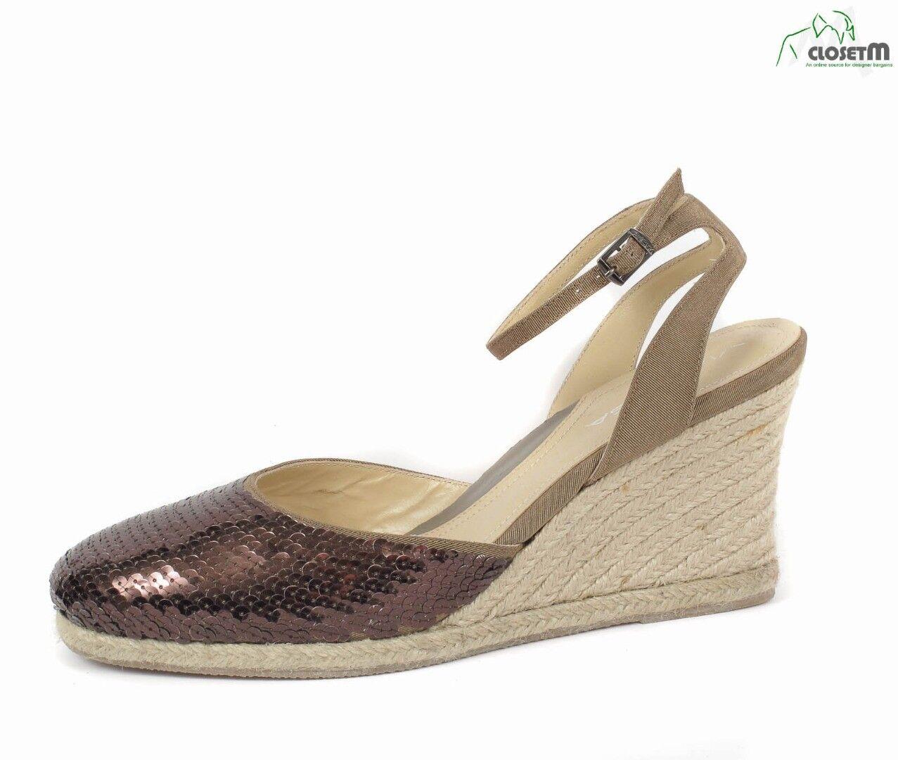 Nuevo Via Via Via Spiga  Larky  marrón con lentejuelas y Correa en el Tobillo Cuña Tacón Zapatos Talla 8 M  los clientes primero