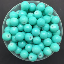 NEW DIY 6mm 50PCS Sea Green Glass Round Pearl Spacer Loose Beads Jewelry Making