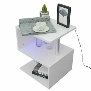 Details About White High Gloss Led Light Coffee Table Living Room Side End Table Furniture Uk
