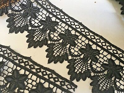"~Bows Ribbon and Lace~55mm//2.25/"" Simply Stunning Jet Black Guipure Lace Trim"