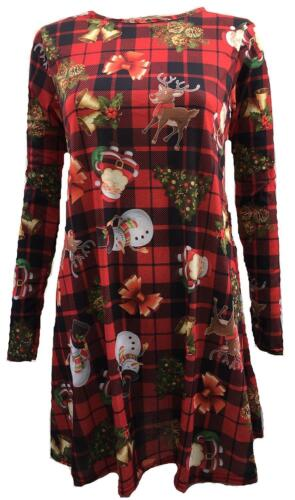 New Ladies Plus Size Full Sleeve Santa Gifts Print Christmas Swing Dress 8-22